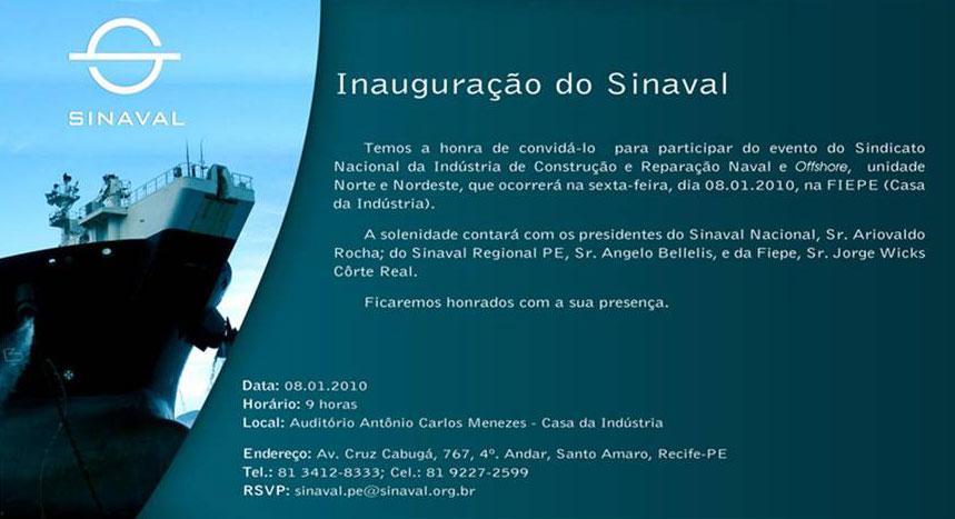 O convite para o evento de inauguração na FIEPE